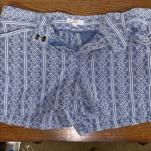 Light blue and white Loft shorts